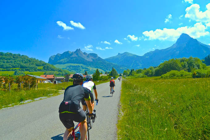 Image of cyclists in Morzine during summer