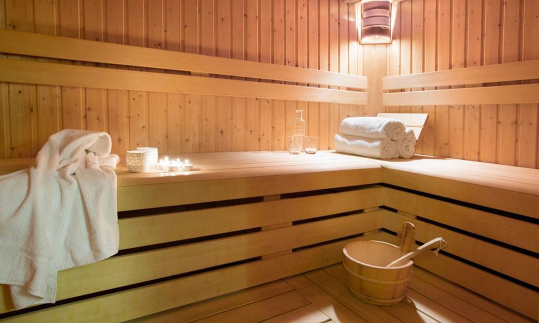 Image of a tidy sauna room at Aiglon Morzine