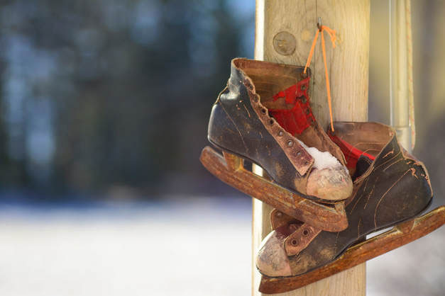 Image of hanging ice skating boots on Morzine