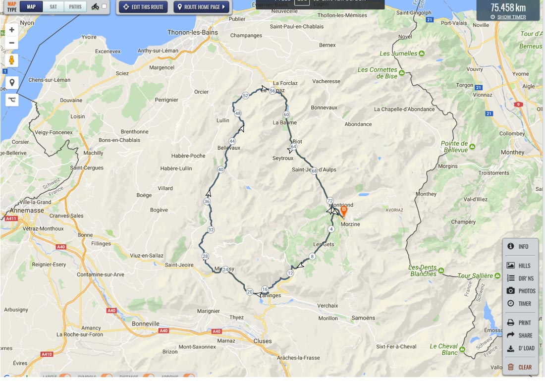 Image of route map for Col de Jambaz