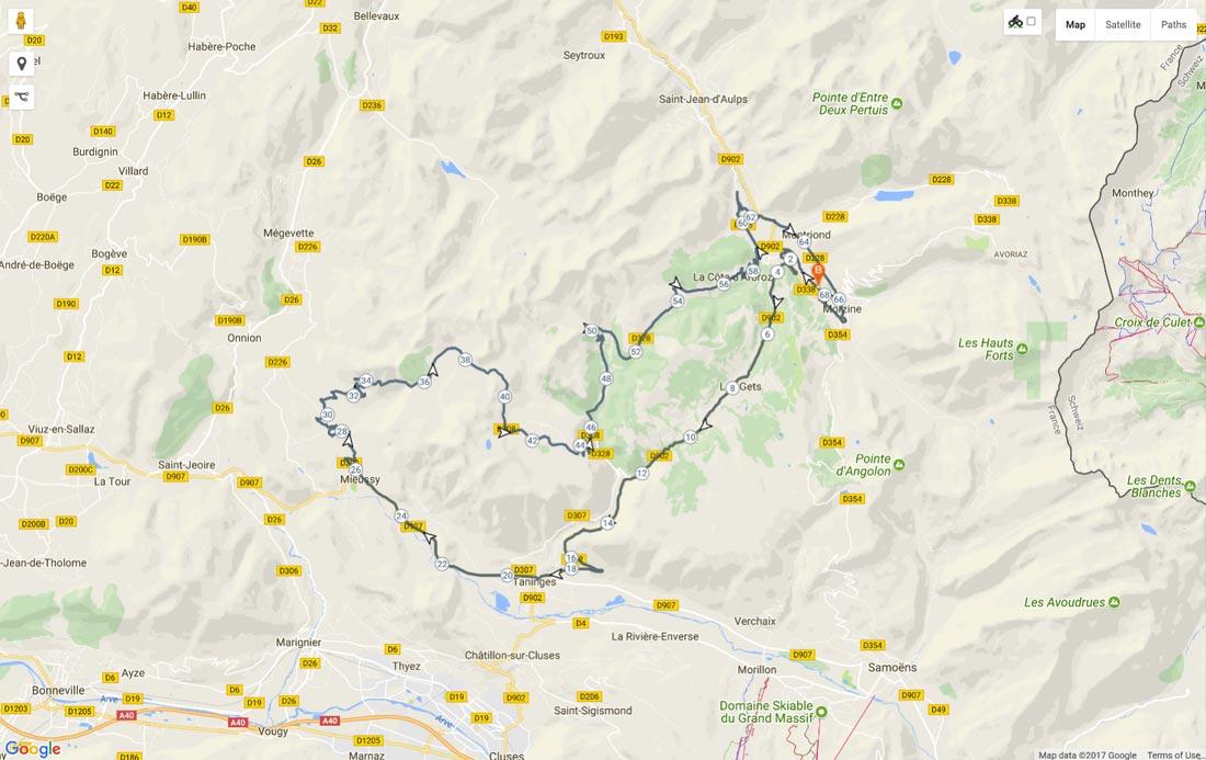 Image of route map for Col de la Ramaz