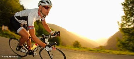 Image of a male cyclist in Morzine during a summer evening
