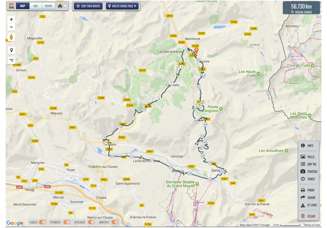 Image of route map for Joux Plane