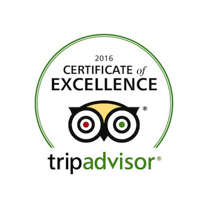 Trip Advisor 2016 certificate of excellence award