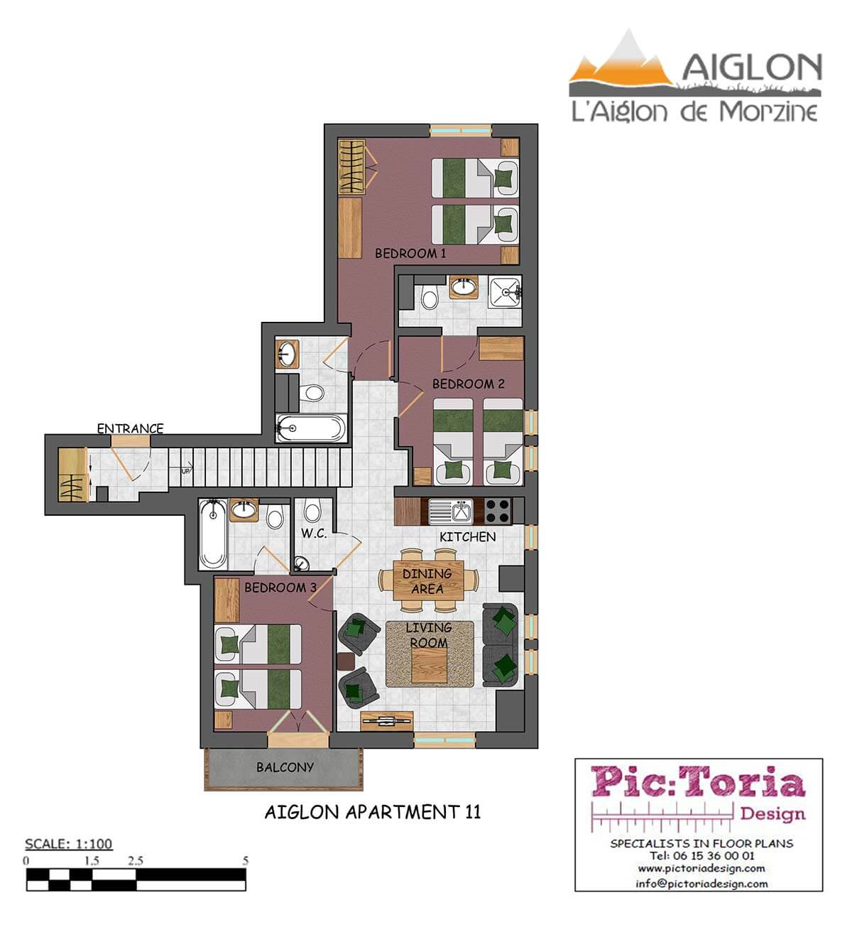 Image of a 3 Bedroom Morzine Apartment 11, floor plan #11