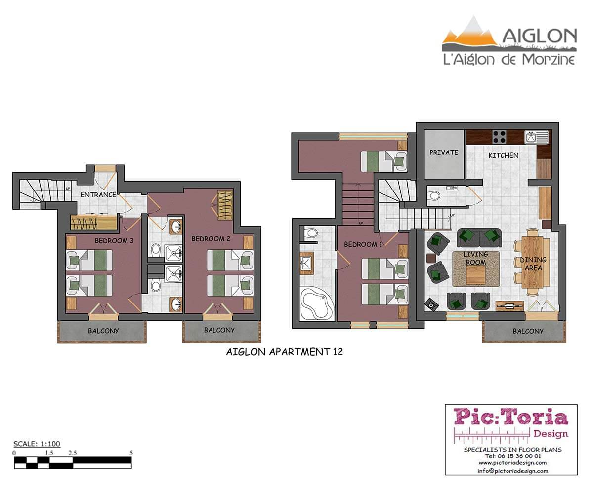 Image of Morzine 3 Bedroom Plus Cabin Apartment, floor plan #12