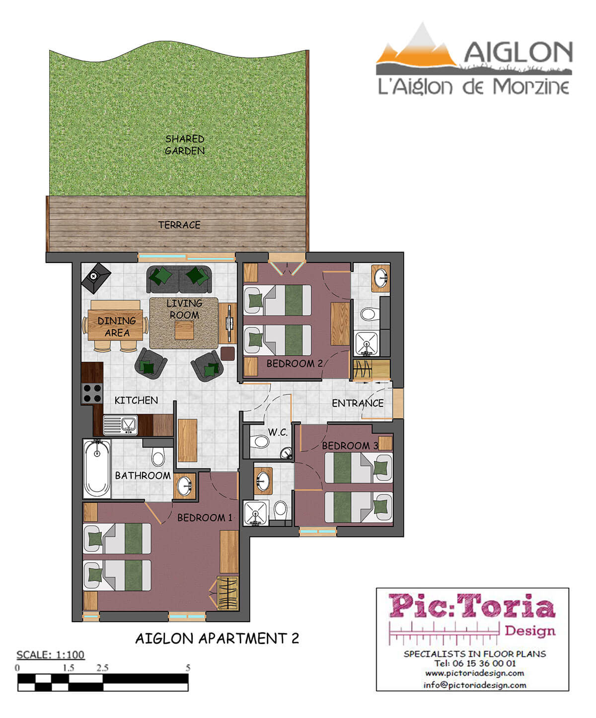 Image of Aiglon Morzine Self Catered Apartments #2 floor plan