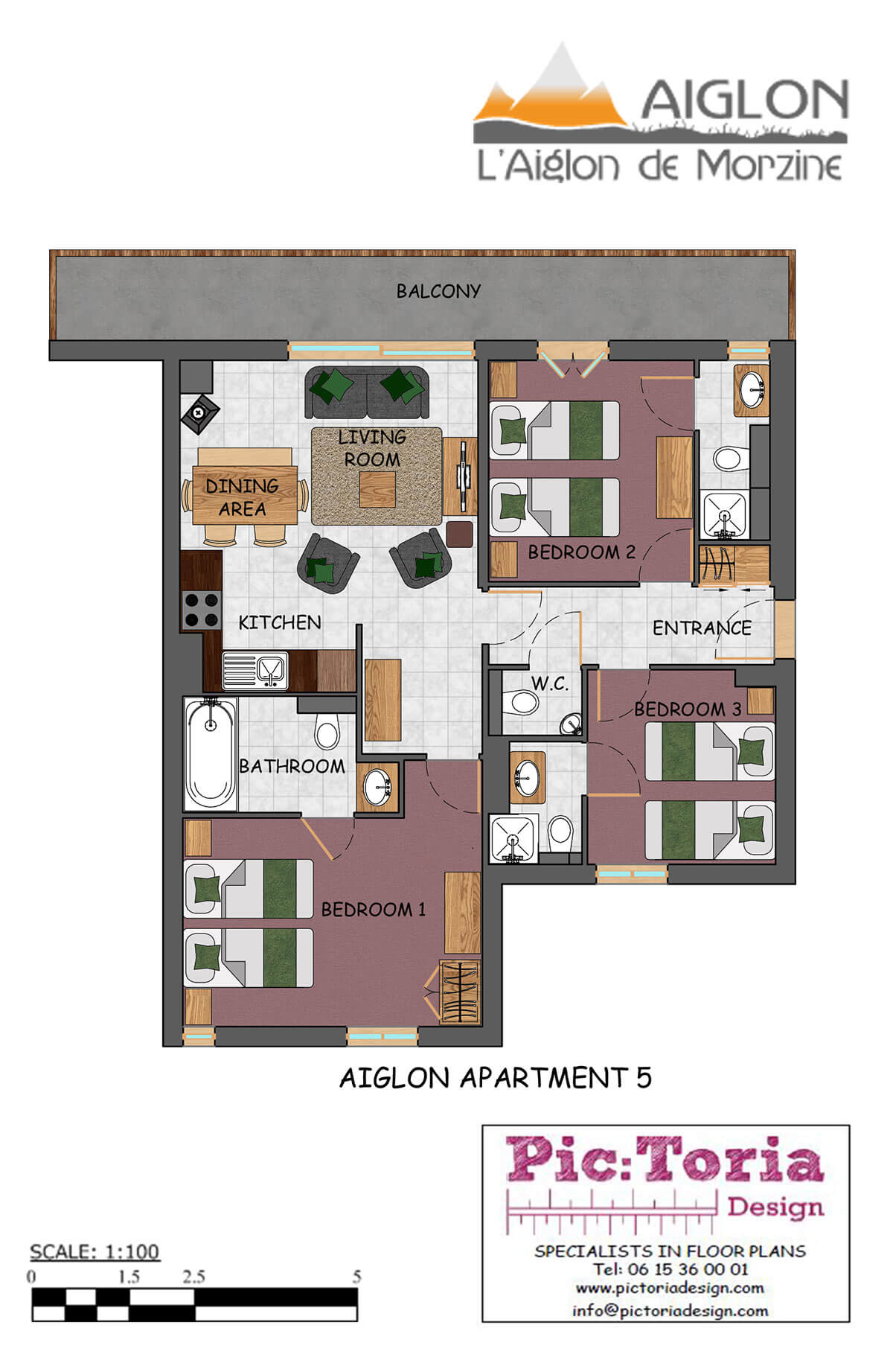 Image of Aiglon Morzine apartment 5 floor plan