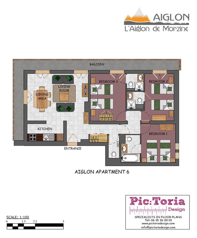 Image of a 3 bedroom apartment in Morzine floor plan #6