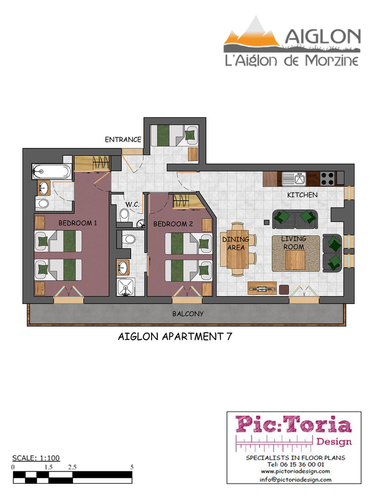 Image of a 2 Bedroom plus Cabin Morzine Self-Catered Apartment, floor plan #7