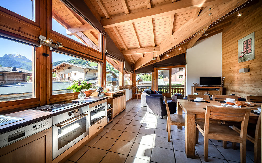 Image of an Aiglon Morzine spacious self catering apartment.  #1 kitchen area.