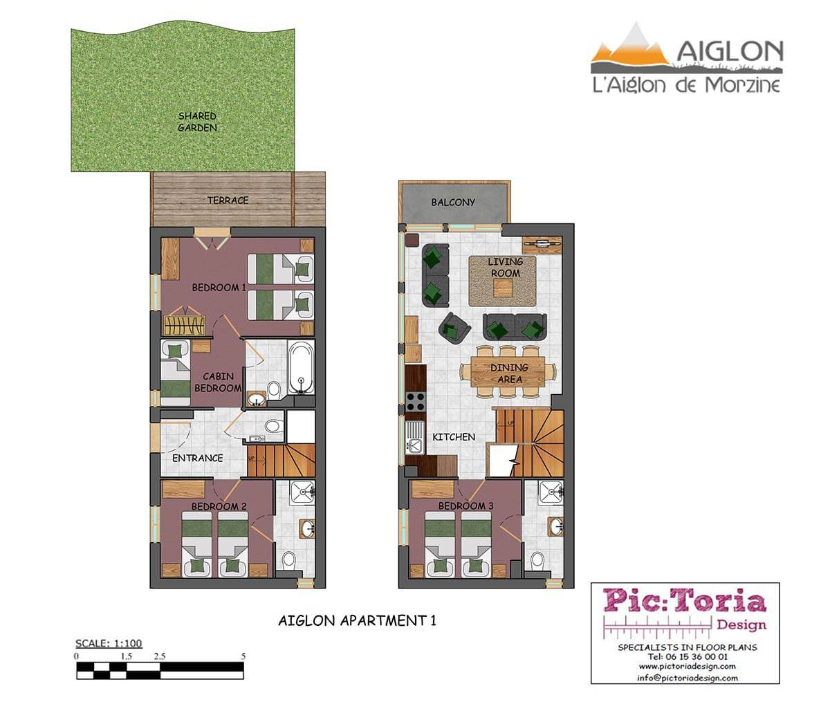 Image of Aiglon Morzine apartment 1 floor plan