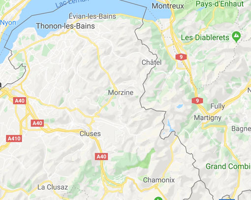 Static image of Morzine on a map