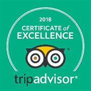 Image of Trip Advisor certificate of excellence 2018 logo