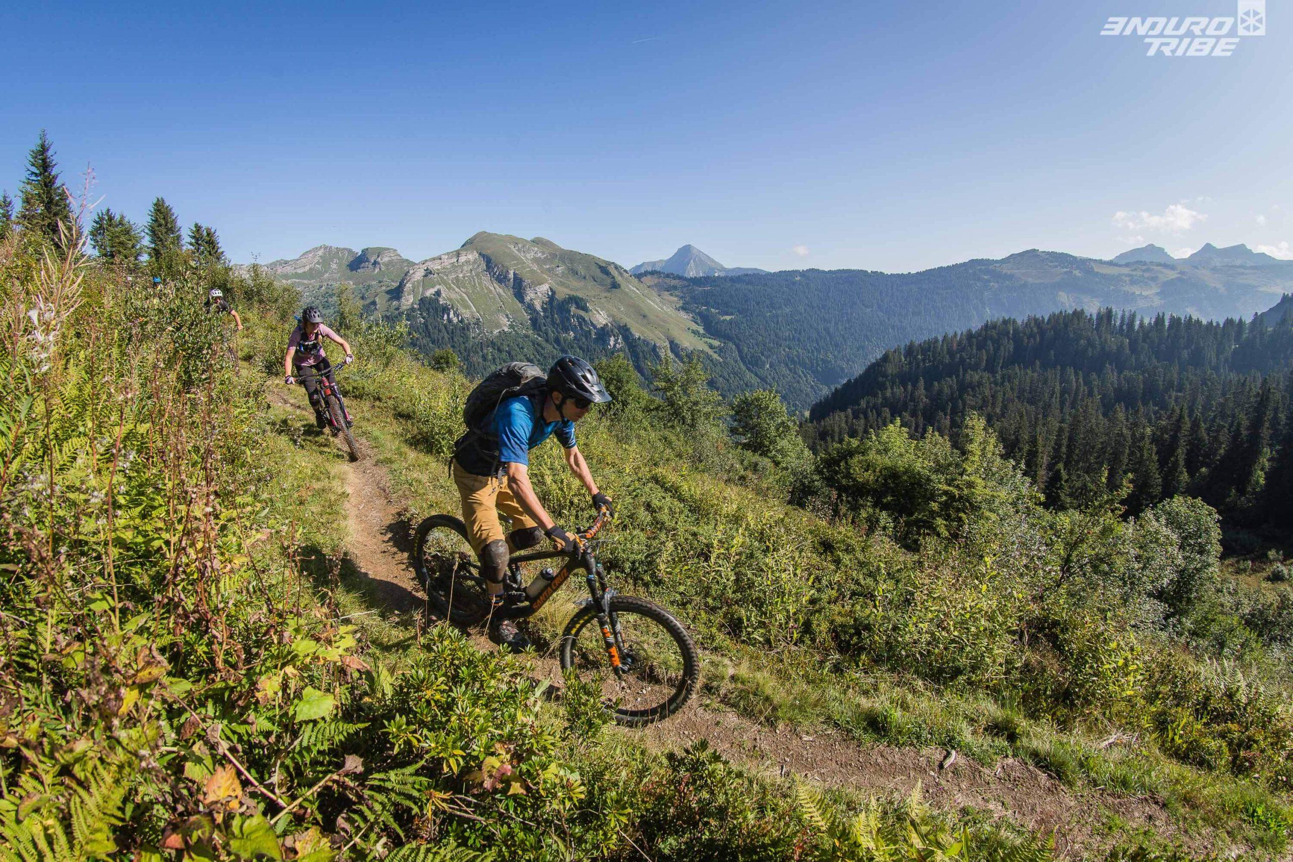 Image of a woman enjoying a bike trail in Morzine